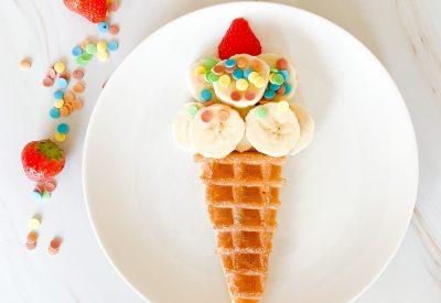 wafel ijsje met banaan